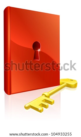 Key to learning illustration of red book with keyhole and a gold key