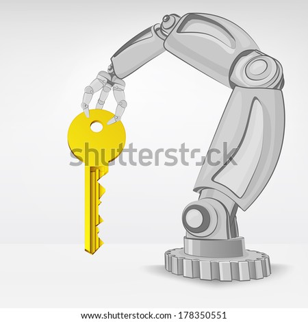 key to success hold by automated robotic hand vector illustration - stock vector