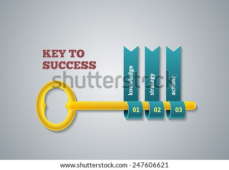 Key to success illustration. Business steps infographic concept. Template vector for layout, banners, diagrams or web design. - stock vector
