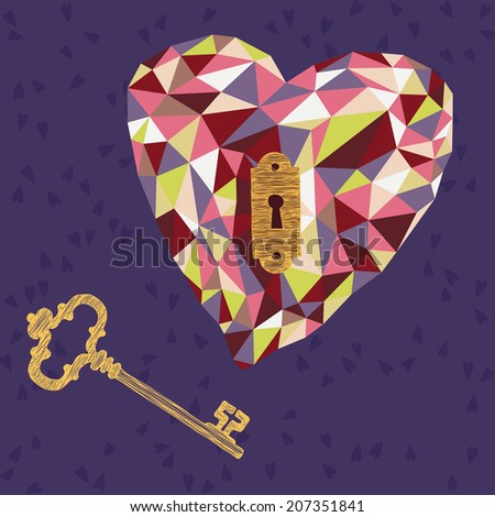 Key to the Heart - stock vector