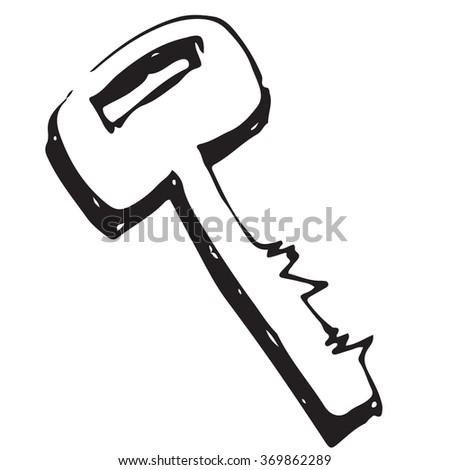 Key vector doodle - stock vector