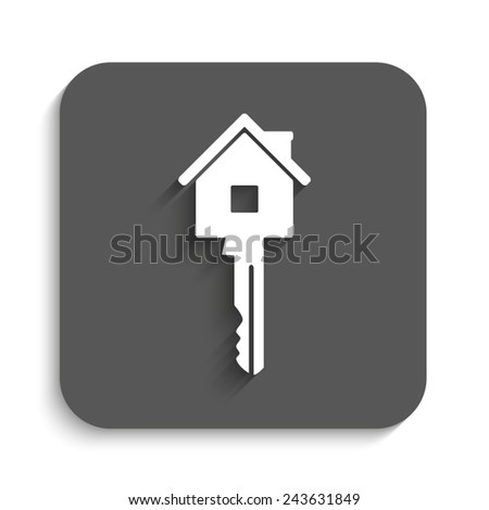 key - vector icon with shadow on a grey button