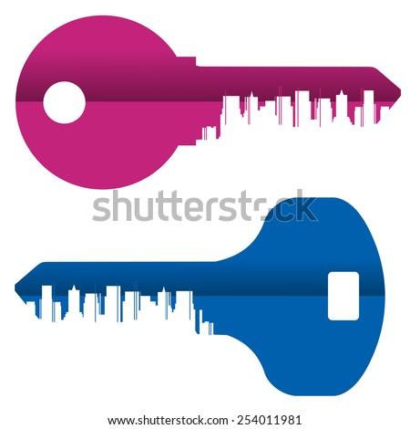 key vector logo design template. City or metropolis icon. - stock vector