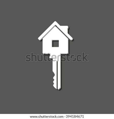 Key - white vector icon  with shadow