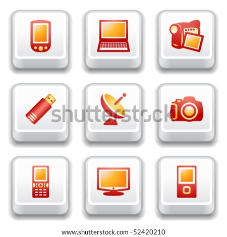 Key with icon 16 - stock vector