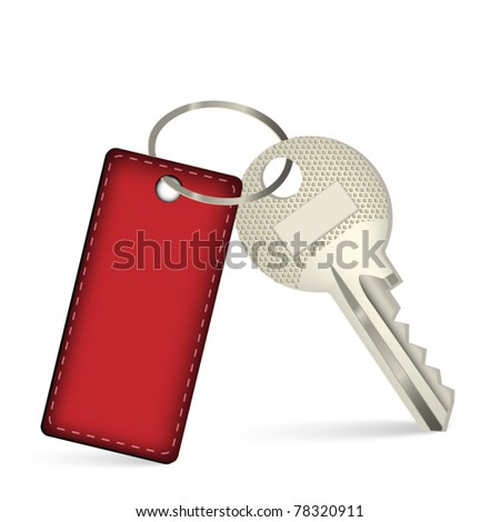 Key with red leather pendant - stock vector