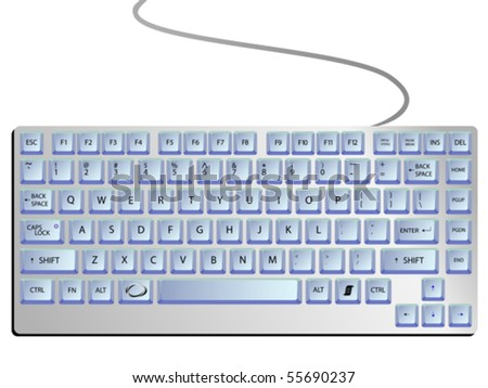 keyboard against white background, abstract vector art illustration - stock vector