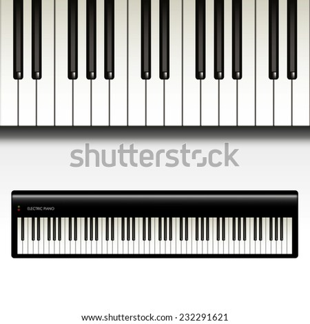 Keyboard and electric piano isolated on  white background. Vector illustration - stock vector