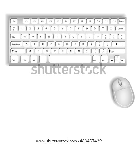 Keyboard and Mouse On a white background illustrations vector.