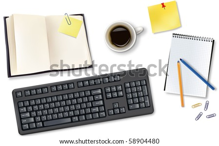 Keyboard, book and  office supplies. Vector. - stock vector