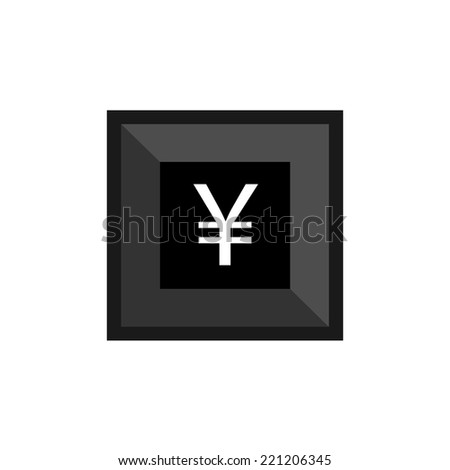 keyboard button with yen symbol  - stock vector