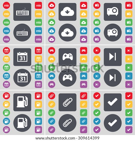 Keyboard, Cloud, Projector, Calendar, Gamepad, Media skip, Gas station, Clip, Tick icon symbol. A large set of flat, colored buttons for your design. Vector illustration - stock vector