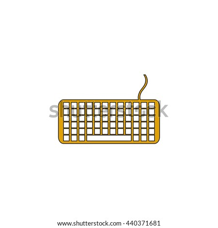 Keyboard Flat yellow thin line symbol on white background. Vector icon - stock vector