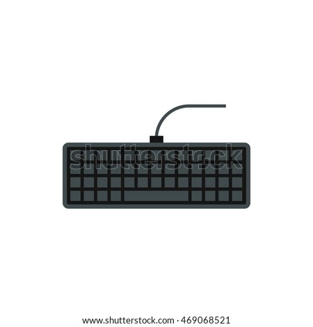 Keyboard icon in flat style isolated on white background. Equipment symbol