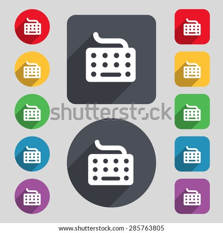 keyboard icon sign. A set of 12 colored buttons and a long shadow. Flat design. Vector illustration - stock vector