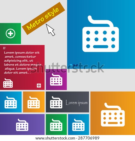 keyboard icon sign. buttons. Modern interface website buttons with cursor pointer. Vector illustration - stock vector