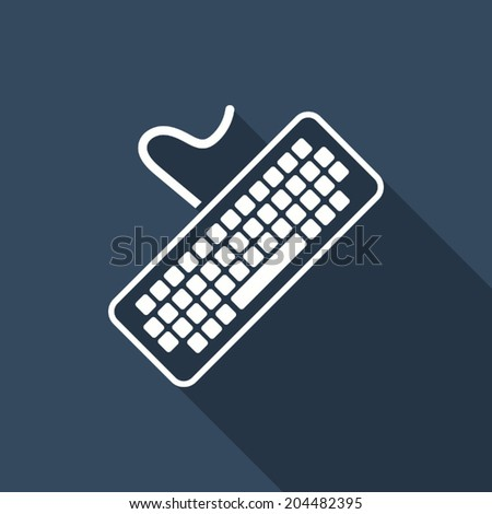 keyboard icon with long shadow - stock vector