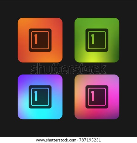 Keyboard key 1 four color gradient app icon design