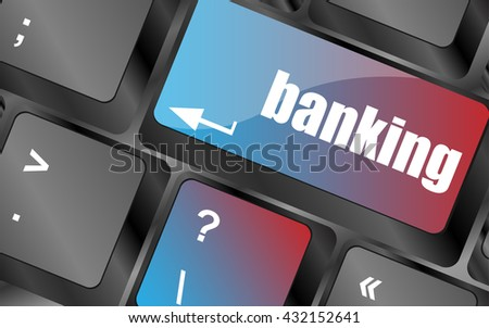 Keyboard key with enter button banking, business concept vector . keyboard keys, keyboard button, keyboard icon - stock vector