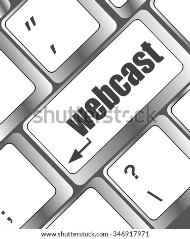 keyboard key with webcast web button vector illustration