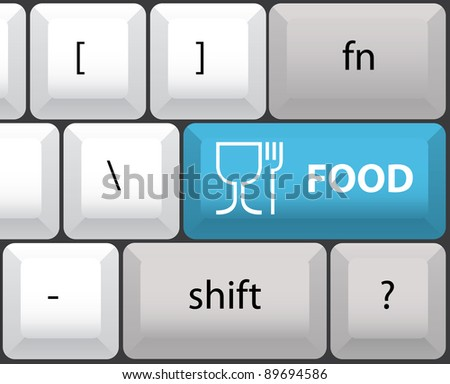 keyboard layout with food button - illustration - stock vector