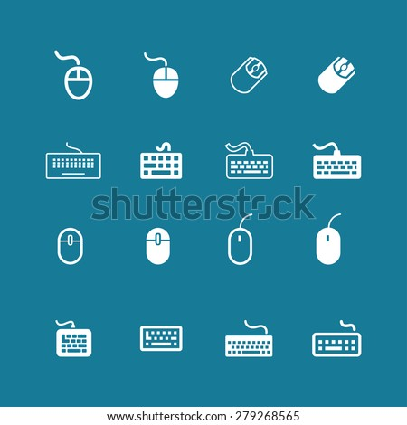 keyboard mouse icons - stock vector