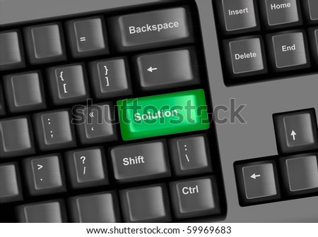 Keyboard with a key solution. Vector.