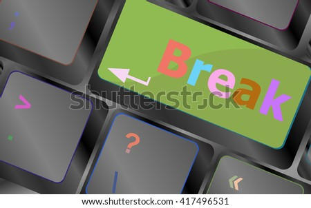 Keyboard with break button, business concept vector keyboard key. keyboard button. Vector illustration - stock vector