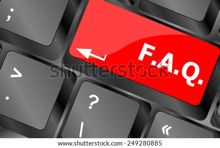 keyboard with faq button - business concept - stock vector