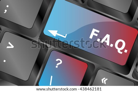 keyboard with faq button - business concept . keyboard keys. vector illustration - stock vector