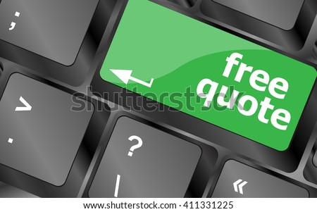 Keyboard with free quote button, business concept. Keyboard keys icon button vector - stock vector