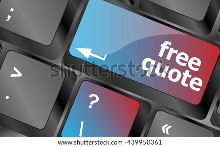 Keyboard with free quote button, business concept . keyboard keys. vector illustration - stock vector