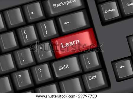 Keyboard with key learn. Internet education concept. Vector.
