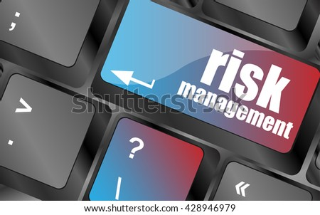 Keyboard with risk management button, internet concept vector , keyboard keys, keyboard button - stock vector