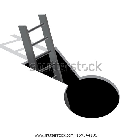 Keyhole and ladder with shadow  - stock vector