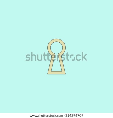 Keyhole. Flat simple line icon. Retro color modern vector illustration pictogram. Collection concept symbol for infographic, logo and project - stock vector