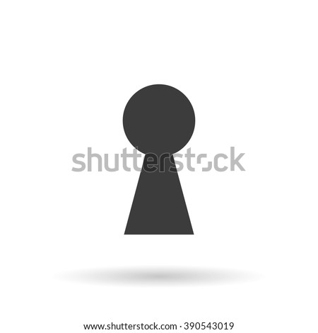 Keyhole icon with shadow, isolated on a white background, stylish vector illustration for web design - stock vector