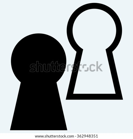 Keyhole symbol. Isolated on blue background. Vector silhouettes