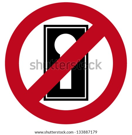 """Keyhole With """"Do Not Disturb"""" Sign - Vector Image - stock vector"""