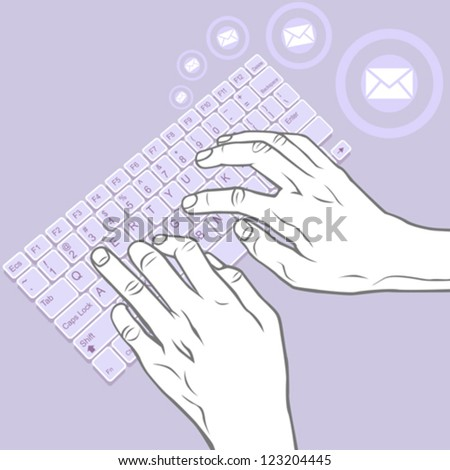 Keying on Keyboard - Hand Gesture for  Desktop, Laptop, Tablet - stock vector