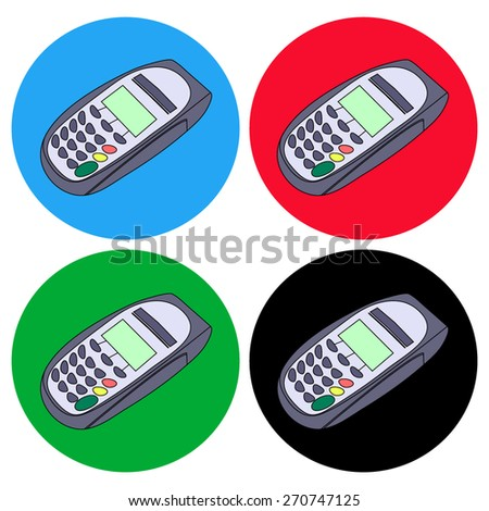 keypad and Terminal - simple icons - stock vector