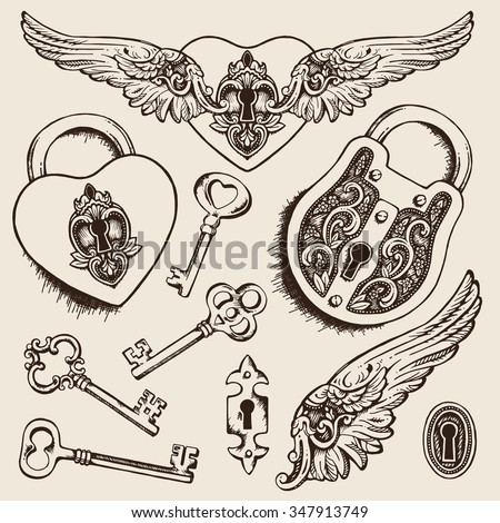 Keys and locks Vector illustration. Heart shaped padlock with wings in vintage engraved style with elegant keys. Coloring book page for kids and adults - stock vector