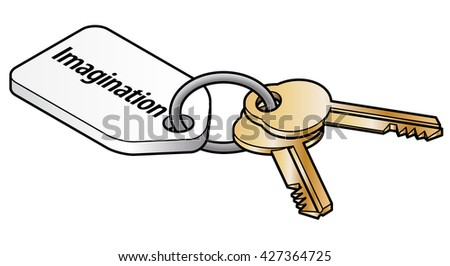 Keys to imagination concept. Two brass keys on key ring with a white tag. - stock vector