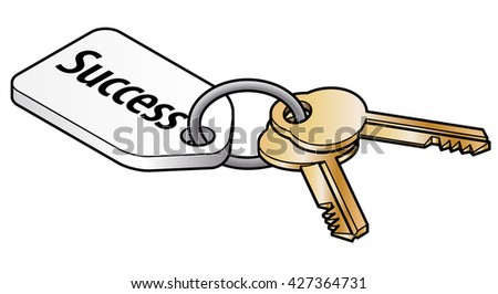 Keys to success concept. Two brass keys on key ring with a white tag. - stock vector