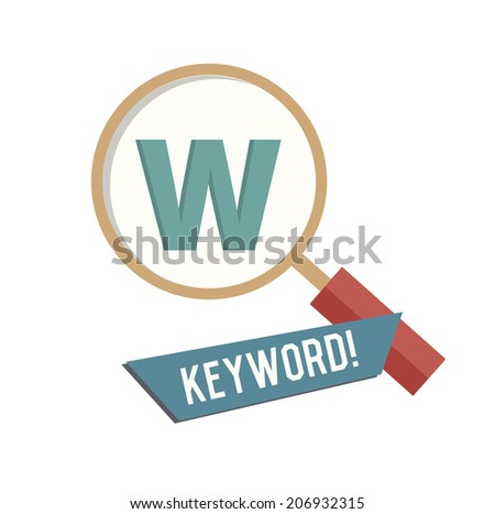 Keyword symbol on white background,Retro colour concept,clean vector