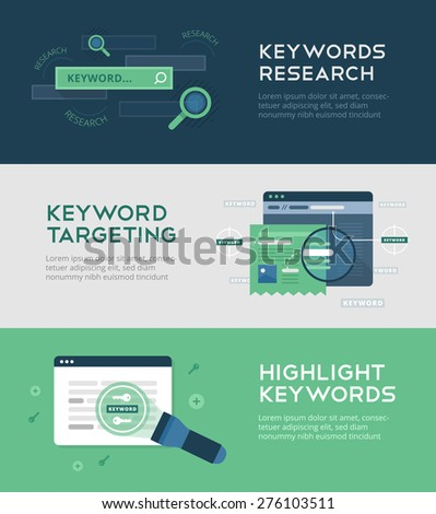 Keywords optimization banners on flat background of keywords research, keywords targeting, tweaking titles and descriptions. Web development and SEO. Search engine optimization, technology, innovation - stock vector