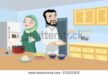Khaliji Couple In The Kitchen-vector - stock vector