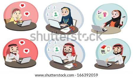 Khaliji People Using The Internet 2-vector - stock vector