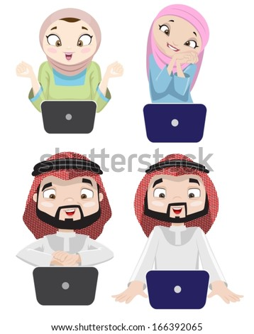 Khaliji People Using The Internet 3-vector - stock vector