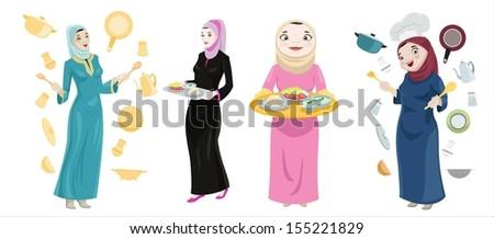 Khaliji Women Cooking Icons-vector - stock vector